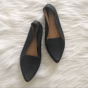 J. CREW Black Pointed Leather Loafers SZ 7